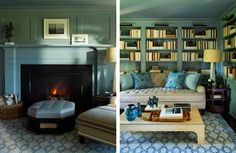 fireplace mantel + bookcases & lighting -S.R. Gambrel