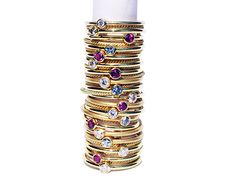Diamond and 18k gold ring Matte finish gold stacking by bellallure, €364.00