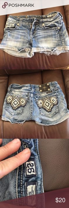 Miss Me shorts Miss Me shorts size 26.  In good condition, but missing the bottom above the zipper, so a new one would have to be sewn on.  Comes from a smoke free home. Offer 20% discount when bundling. No trades. Miss Me Shorts Jean Shorts
