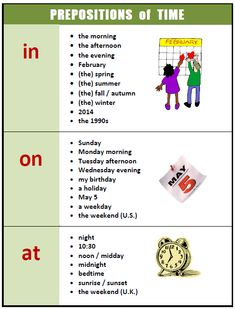 Prepositions of time (source unknown) Learn more: http://www.learnbritishenglish.co.uk/