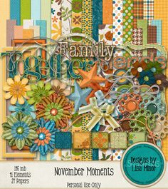 November Moments Digital Scrapbook Kit Instant Download, autumn scrapbook kit, family scrapbook kit, fall clip art, plaid papers, polka dot papers, flower pattern papers, stars, digiscrap, scrapbook, scrapbooking, digitalscrapbook, digitalscrapbookkit, clipart, patternpapers, scraps, crafts, creative, craft, create, design, digitalkits