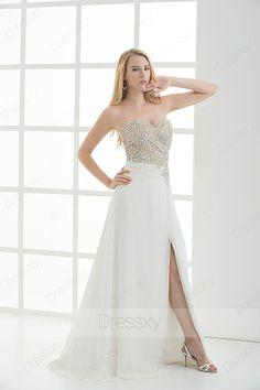 Lovely Sheath / Column Floor-length Sweetheart Zip-up Chiffon Sequined White Evening Dresses