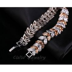 2015 Luxury Jewelry Unique Design AAA + Swiss Cubic Zircon Leaf Shape Vintage Bride Wedding Bracelet & Bangle For Women CB140