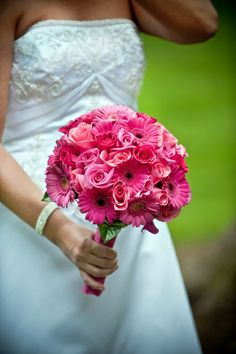 Two shades of pink gerbers and two shades of pink roses were used to create this fun and bright bouquet.