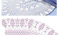Toalha retangular com gráfico, caminho de mesa crochê, receita de crochê