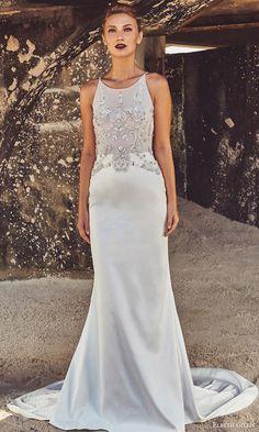 elbeth gillis bridal 2017 sleeveless jewel neck trumpet wedding dress (fiona) mv embellished bodice