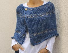 Women's wool acrylic poncho shrug hand knit poncho denim blue with golden threads chunky knit poncho sweater READY TO SHIPhand made