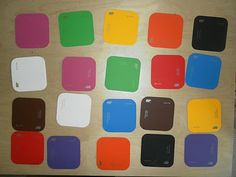using paint chip cards for a memory match game, turn them all over and find a pair! work on colours