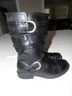 Item picture BOC Born Boots Adrienne Slouch Buckle Strap Black Biker leather womens 8.5 40