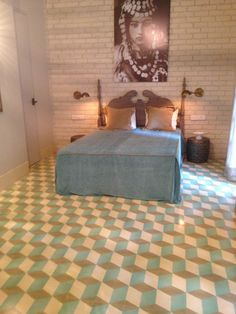 pattern tiles from Bharat Floorings at a home designed by Alice Von Baum 3d Pattern, Tile Patterns, Floors, Tiles, Alice, House Design, Bed, Furniture, Home Decor
