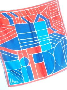 Post Modernism - a vintage 1970's Vera Neumann Color-Blocked Silk Scarf