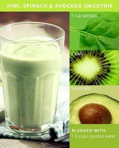 5 Green Smoothie Recipes for Glowing Skin || Kiwi Spinach Avocado Smoothie
