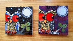 "Mini Owl mosaics -""Coats of Different Colors"""