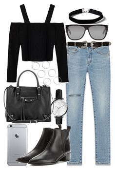 """Untitled #117"" by voiceforfashion ❤ liked on Polyvore featuring Yves Saint Laurent, River Island, Zara, FOSSIL, Topshop, Balenciaga and Acne Studios"