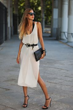 BLACK & WHITE / Made With Fashion  Dress: Zara Bodysuit: American Apparel Necklace: Forever 21 Belt: H&M Bag: Marc by Marc Jacobs Sandals: Zara