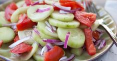 """Welcome again to """"Yummy Mommies"""" the home of meal receipts & list of dishes, Today i will guide you how to make """"CUCUMBER, ONION, AND TOMATO SALAD! I made this Delicious recipe a few days Marinated Cucumbers, Cucumber Tomato Salad, Onion Salad, Cucumber Recipes, Salad Recipes, Cucumber Salad Vinegar, Grape Salad, Onion Soup, Skinny Recipes"""