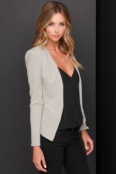 Moment's Notice Light Taupe Cropped Blazer | Lulus
