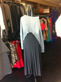 Off the shoulder Shirt with long grey skirt