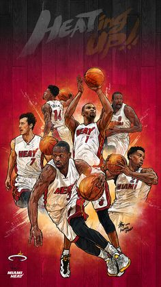 NBA Phone Wallpaper -  Artist: Kim MinSuk (김민석) #Yellowmenace #basketballart #MiamiHeat #DwayneWade + http://yellowmenace8.blogspot.com/2015/04/art-minsuk-kim-nba-2014-15-season-in.html