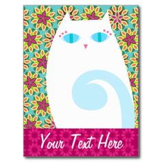 Customize this adorable kitty postcard with your own text or leave as is - fun for personal and business uses - use as direct mail marketing for your pet grooming, pet sitting, boarding or veterinarian services {{Click CUSTOMIZE to change text color, font or to add more text}} #pretty #kitty #cat #postcard #floral #flowers #pet #cute #white #cat #blue #eyes #cartoon #pink #cats #kitties #pets #service #business #card #marketing #mailing #direct #mail #groomer #boarding #pet #sitting #pet ...