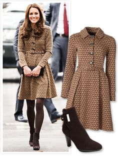 Kate Middleton in bird print dress with brown tights and ankle boots. Looks Kate Middleton, Estilo Kate Middleton, Kate Middleton Outfits, Dress Outfits, Fall Outfits, Dresses Dresses, Dance Dresses, Dresses Online, Casual Dresses