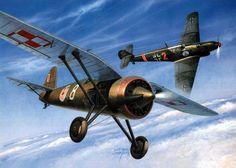 Lotnictwo II RP PZL P.11c – polski samolot myśliwski. Brygady Pościgowa, 111 Eskadra Myśliwska. w walce z Messerschmittem Bf 109. Rys. Jaroslaw Wróbel.  https://www.facebook.com/wojskopolskie19391945/photos/a.378968358968176.1073741830.376641135867565/378908165640862/?type=1