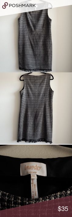 """Laundry by Shelli Segal Tweed Like Shift Dress Laundry by Shelli Segal Black & White Tweed Like Shift Office Dress. Size 12. Shell: 100% acrylic lining: 100% polyester. Dry clean only. Length: 35"""" Shoulder width: 14"""" Bust: 19"""". Side zipper. Bottom hem fringe. Comes from a pet free and smoke free home. Happy poshing! Laundry By Shelli Segal Dresses Midi"""