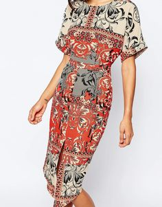 Image 3 of ASOS Split Front Wiggle Dress In Red Scarf Print