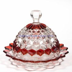 Fostoria | American | Ruby-stained Butter Dish