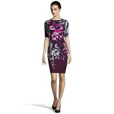 Taylor women's eggplant floral print stretch ponte knit cutout back sheath dress