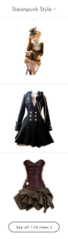 """""""Steampunk Style ~"""" by milluskah ❤ liked on Polyvore featuring steampunk, steam punk, backgrounds, words, filler, dresses, jackets, coats, vestidos and short dresses"""