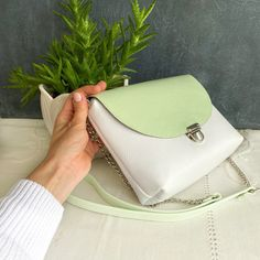 Minimalist envelope crossbody, white and green genuine leather clutch bag with long adjustable strap, small phone purse, 11*8 in (28*20cm)