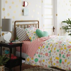 Lottie Dots Polka Dot Wall Decals (Gold) | The Land of Nod