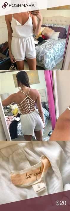 Chiffon Romper with Back details Purchased from a boutique. This romper is easy to wear casual with flats or dress up with wedges! The strapping back details are super cute! Always got compliments when I wore this xx Lost April Other