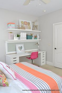 Love the colors Emma! Even though the light gray walls are a little plain, it's dressed up with the pops of color everywhere!