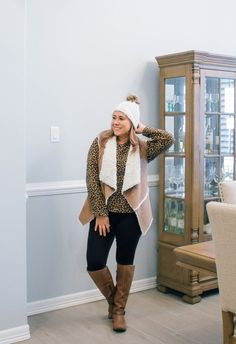 Leopard and sherpa vest outfit #MyShopStyle #ShopStyle #runwayteacher #teacherwinteroutfits #leopardoutfitidea #coldweatheroutfit