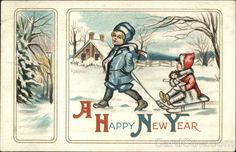 A cute vintage New Year's postcard. #vintage #New_Years #winter