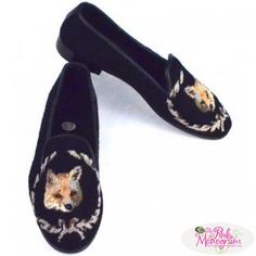Fox Needlepoint Loafers Hand Stitched By Paige  Apparel & Accessories > Shoes > Loafers
