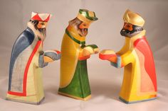 3 kings wise wooden toys Christmas colors Eur 49.50
