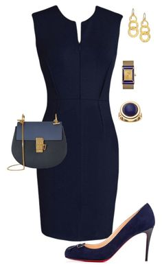 """""""Untitled #516"""" by angela-vitello on Polyvore featuring Christian Louboutin, Tory Burch, Gurhan, Apt. 9 and Chloé"""
