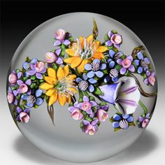 Ken Rosenfeld 2014 morning glory and forget-me-not bouquet paperweight. by Ken Rosenfeld