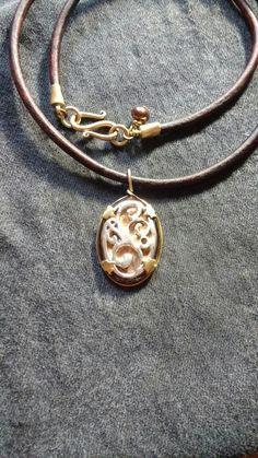 Rock It Design Fine silver vintage findings leather pearl by Nadene Field