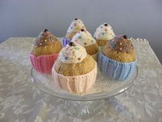 knitted cupcakes with sprinkles £12.00