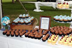 More cupcake display...Lemon Raspberry, Ghiradelli Chocolate and White chocolate blackberry cupcakes