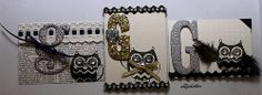 ATC - G is for Glitter Owls Swap Glitter, Paper, Owl Stamp, Jewels, Feathers, Glitter Letters, Ribbon, Paper