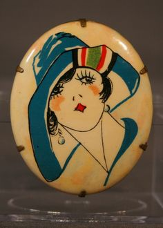 RESERVED FOR BRIONY Printed Celluloid Flapper Brooch