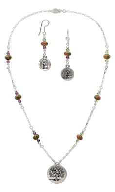 Jewelry Design - Single-Strand Necklace and Earring Set with Antiqued Silver-Plated Pewter Charms, Swarovski Crystal Beads and Flat Backs and Unakite Gemstone Beads - Fire Mountain Gems and Beads