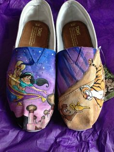 Aladdin & Jasmine painted Toms! <3 Oh my gosh I love these so much it hurts!