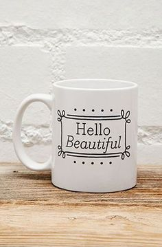 Tickled Teal Hello Beautiful Mug