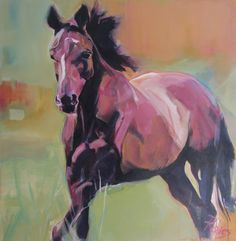 """Rebecca Davies 'Year of the Horse' Hershey 36"""" x 36"""" acrylic on canvas"""